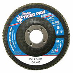 Weiler Tiger Paw Coated Abrasive Flap Discs, 4 1/2in, 40 Grit, 7/8 Arbor, 12,000 rpm