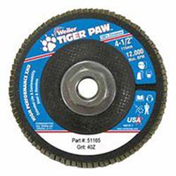 Weiler Tiger Paw Super High Density Flap Discs, 4 1/2in, 40 Grit, 5/8 Arbor, 12,000 rpm