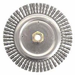 Weiler Dually™ Stringer Bead Wheel, 7 in D x 3/16 in W, .02 in Carbon Steel, 9,000 rpm