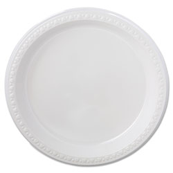 "Chinet Heavy Duty Disposable 9"" Plastic Plates, White, Case of 500"