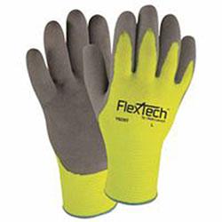 Wells Lamont FlexTech Hi-Visibility Knit Thermal Gloves w/Nitrile Palm, L, Hi Vis Green/Gray