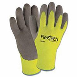 Wells Lamont FlexTech Hi-Visibility Knit Thermal Gloves w/Nitrile Palm, XL, Hi Vis Green/Gray