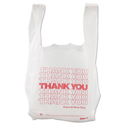 Sweet Paper Thank You High-Density Shopping Bags, 8 in x 16 in, White, 2,000/Carton