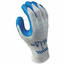Showa Atlas Fit 300 Rubber-Coated Gloves, M, Gray/Blue
