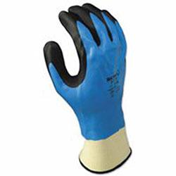 Showa Foam Grip 377 Nitrile-Coated Gloves, L, Blue/Black