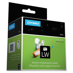 "Dymo MultiPurpose - Permanent Adhesive Labels - Black On White - 1.25"" x 2.25"" - 1000 Label(s)"
