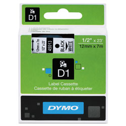 "Dymo D1 - Polyester Self-adhesive Label Tape - Black On White - Roll (0.5"" x 23') - 1 Roll(s)"