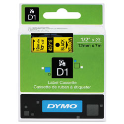 "Dymo D1 - Polyester Self-adhesive Label Tape - Black On Yellow - Roll (0.5"" x 23') - 1 Roll(s)"