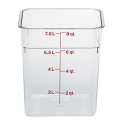 Cambro Food Container, 8 QT, Clear