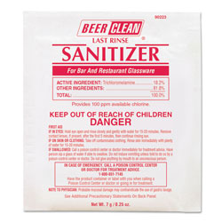 Diversey Beer Clean Last Rinse Glass Sanitizer, Powder, .25oz Packet, 100/Carton