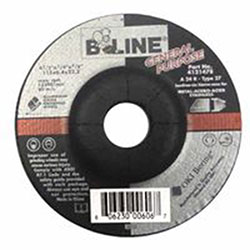 Bee Line Abrasives Depressed Center Grinding Wheel, 4 1/2in Dia, 1/4in Thick, 7/8in Arbor, 24 Grit