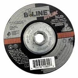 Bee Line Abrasives Flexible Depressed Center Wheel, 4 1/2in Dia, 1/8in Thick, 5/8-11in Arbor, 46 Grit