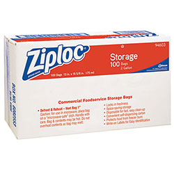 Ziploc® Double Zipper Bags, Plastic, 1.75 mil, 2gal, Clear w/Write-On Panel, 100/Carton