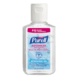 Purell Advanced Hand Sanitizer Refreshing Gel, Clean Scent, 2 oz, Squeeze Bottle, 24/Carton
