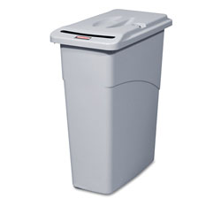 Rubbermaid Slim Jim Confidential Document Receptacle with Lid, Rectangle, 23 gal, Light Gray