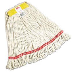 "Rubbermaid Web Foot Wet Mops, Cotton/Synthetic, White, Small, 1"" Yellow Headband,6/Carton"