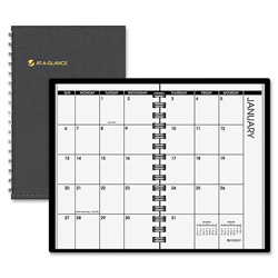"At-A-Glance Planner, Jan-Dec, Telephone numbers/addresses, 2 PPM, 3-3/4""x6-1/8"" Page Size, Black"