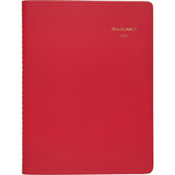 "At-A-Glance Weekly Appointment Book, 8 1/4""x10 7/8"", Simulated Leather Red"