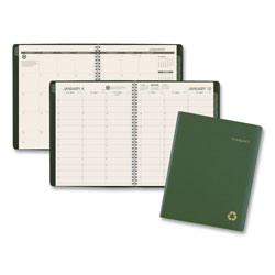 At-A-Glance Recycled Weekly/Monthly Classic Appointment Book, 8 1/4 x 10 7/8, Green, 2018