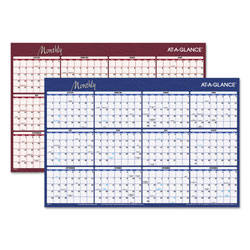 At-A-Glance Reversible Write On/Wipe Off Monthly Wall Planner, 36 x 24, Burgundy/Navy