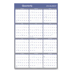 At-A-Glance Write On/Wipe Off Reversible Yearly Dated Wall Organizer, Month/Quarter, 36 x 24