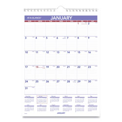 At-A-Glance Monthly Wall Calendar with Ruled Daily Blocks, 8 x 11, White, 2018