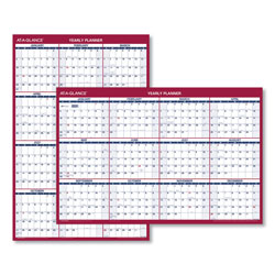 "At-A-Glance Reversible/Erasable Horizontal/Vertical Yearly Wall Planner, 48"" x 32"", Red/Blue"