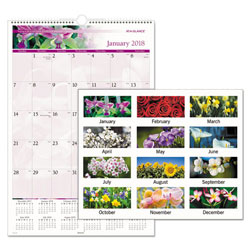 At-A-Glance Floral Wall Calendar, 15 1/2 x 22 3/4, Floral, 2018