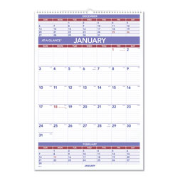 At-A-Glance Three-Month Wall Calendar, 15 1/2 x 22 3/4, 2017