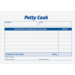"Adams Business Forms Receipt Pad, Petty Cash, 5 1/2""x2 5/6"""