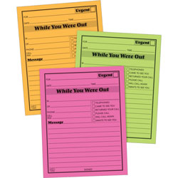 "Adams Business Forms Message Pad, ""While You Where Out"", 5""x4"", Neon Assorted Colors"