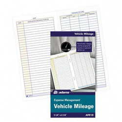 "Adams Business Forms Vehicle Mileage Log Book, 32 Pages, 3 1/4""x6 1/4"", White"