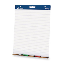 "Adams Business Forms Easel Pad, w/Carry Handle, 1"" Lined, White"