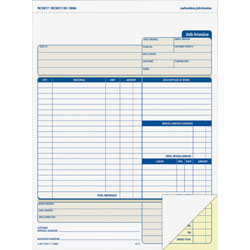 "Adams Business Forms Job Invoice Forms, 2 Part, Carbonless, 8 1/2""x11 7/16"""