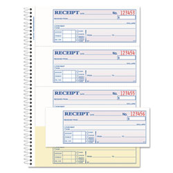 "Adams Business Forms Money/Rent Receipt Bk, Spiral, Dup, 2-3/4""x7-5/8"", 200 sheet, Black"