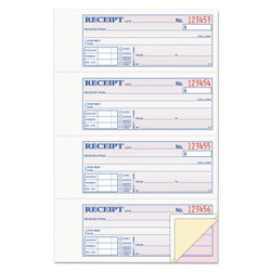 "Adams Business Forms Rent Receipt Book, Top Bound, Trip, 2 3/4"" x 7 5/8"" 100 Sheet, BK"