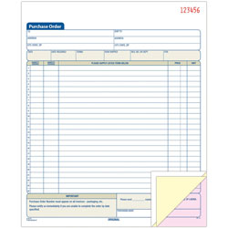 "Adams Business Forms Purchase Order Book, Carbonless, 3-Part, 8-3/8"" x 10-11/16"", WE"