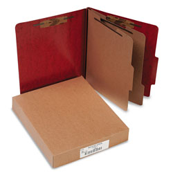 Acco 20 Point Classification Folders, Letter, 6 Section, Red, 10/Box