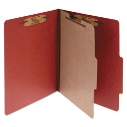 Acco Pressboard 25 Point Classification Folders, Letter, 4 Section, Earth Red, 10/Box