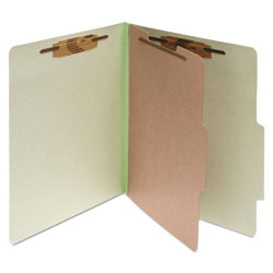 Acco Pressboard 25 Point Classification Folders, Letter, 4 Section, Leaf Green, 10/Bx