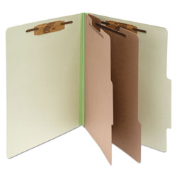 Acco Pressboard 25 Point Classification Folders, Letter, 6 Section, Leaf Green, 10/Bx