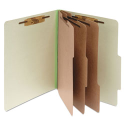 Acco Pressboard 25 Point Classification Folders, Letter, 8 Section, Leaf Green, 10/Bx