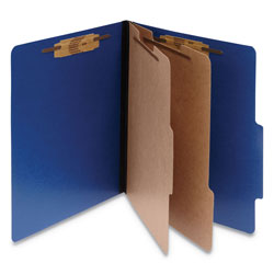 Acco Classification Folders, Letter, 6 Sect., Dark Blue, 10/Box