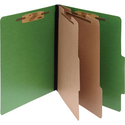 "Acco color coded top tab folders with fasteners, 3""exp, letter, green"