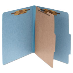 Acco Pressboard 25 Point Classification Folders, Legal, 4 Section, Sky Blue, 10/Bx