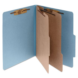 Acco Pressboard 25 Point Classification Folders, Legal, 6 Section, Sky Blue, 10/Bx