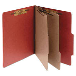 Acco Pressboard 25 Point Classification Folders, Legal, 6 Section, Earth Red, 10/Bx