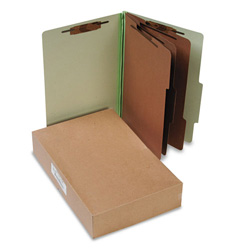 Acco Pressboard 25 Point Classification Folders, Legal, 8 Section, Leaf Green, 10/Bx