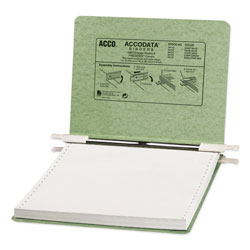 Acco Pressboard Hanging Data Binder for 9 1/2 x 11 Unburst Sheets, Light Green