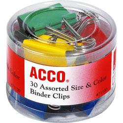 "Acco Binder Clip Assortment, 30 Pieces, 3 Sizes: 1/2"", 3/4"", 1 1/2"", Asst. Colors"